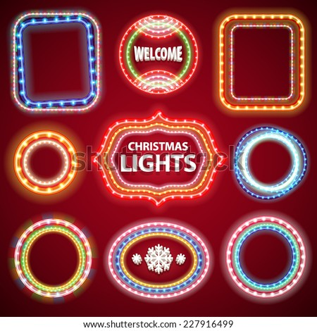Christmas Neon Lights Frames with a Copy Space Set2 for Casino or Christmas Design. Used pattern brushes included. - stock vector