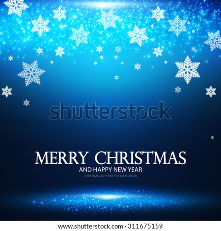 Christmas & New Year banner with show & lights. Vector illustration - stock vector
