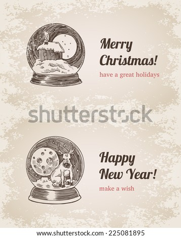 Christmas New Year crystal ball house elk moon handdrawn engraving style template poster banner print web site pen pencil crosshatch hatching paper painting retro vintage vector lineart illustration.  - stock vector