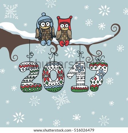 Christmas,New year 2017 doodle greeting card.Cartoon owl couple on branch. Knitted figures 2017 hanging on the ropes.For design template,poster.Hand drawing winter vector