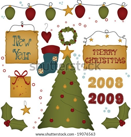 Christmas / New year Folk art Style elements - stock vector