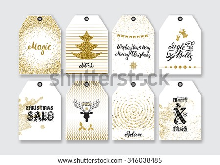 Christmas, New Year gift tags with gold glitter textured elements and modern ink brush pen calligraphy. - stock vector