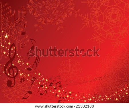 Christmas (New Year)greeting postcard with musical staff. Vector background. - stock vector