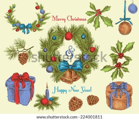 Christmas new year holiday celebration decoration sketch colored decorative icons set isolated vector illustration - stock vector