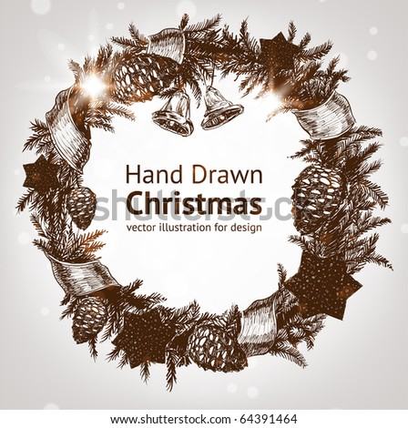 Christmas & New year holidays vector hand drawn illustration with xmas wreath - stock vector