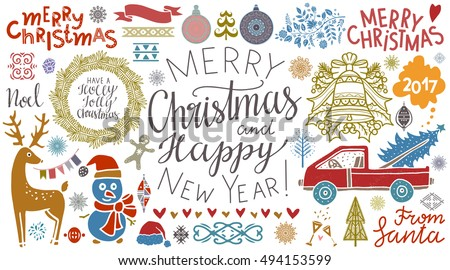 Christmas, New Year icons. Merry Christmas, Merry Christmas and Happy New Year, handwritten. Tree, ball, snowflake, bell, wreath, reindeer, ribbon, flag, snowman, car, wine glass