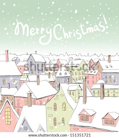 Christmas/New Year illustration with  houses   - stock vector