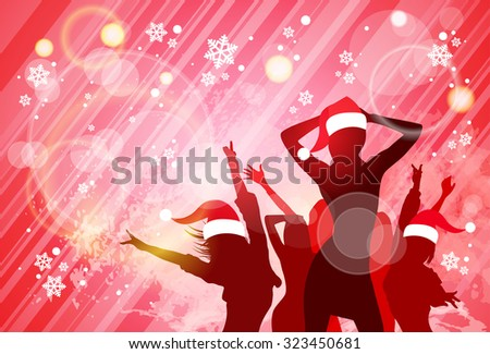 Christmas New Year Party Dancing Girl Poster, People Silhouettes Wear Red Santa Hat Dance Banner Vector illustration - stock vector
