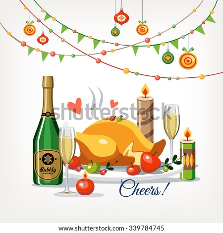 Christmas New Year romantic dinner - stock vector