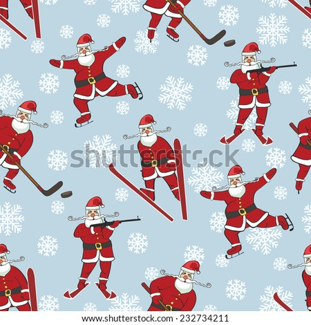Christmas,New year Seamless pattern,background. Santa Claus playing winter sports,Figure skating,ski jump,hockey,biathlon.Flat design,simple image.Winter sport.Vector humorous Illustration. - stock vector