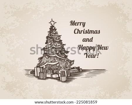 Christmas New Year tree decorated card handdrawn engraving style template poster banner print web site pen pencil crosshatch hatching paper painting retro vintage vector lineart illustration.  - stock vector