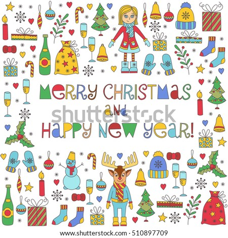 Christmas new year winter holidays symbols hand drawn isolated doodles vector collection. Greeting card decorative festive symbols.