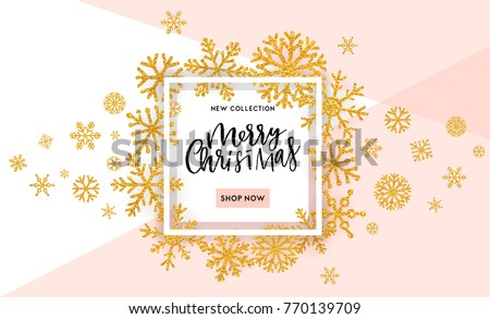 Christmas, New Year, Winter poster. Vector illustration. Sale banner, background, flyer, invitation card template design in black white and gold colors