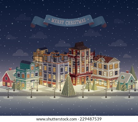 Christmas night cityscape and snowfall. Vector illustration. - stock vector