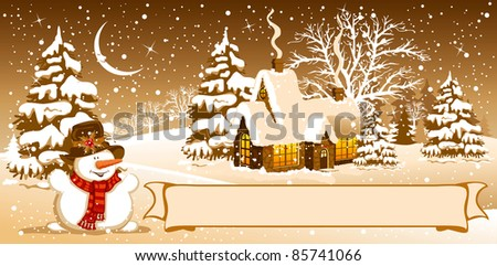 Christmas night in the village. Vector image. - stock vector