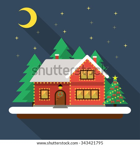 Christmas night landscape. In the sky the moon and the stars, the house and Christmas tree decorated with lights. Sto?k flat vector illustration. - stock vector