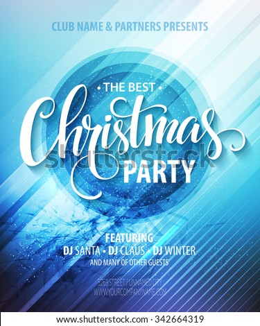 Christmas night party poster or flyer. Vector illustration EPS10 - stock vector