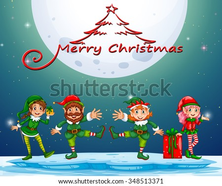 Christmas night with elf and present illustration - stock vector
