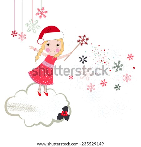 Christmas noel fairytale vector greeting card