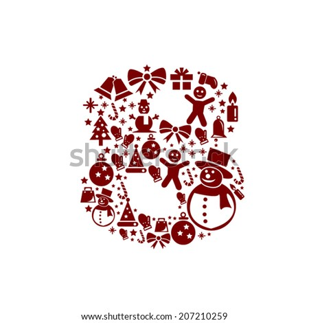 Christmas Number 8 on White Background - stock vector