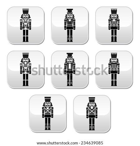 Christmas nutcracker - soldier figurine grey buttons set - stock vector