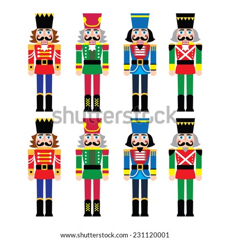 Christmas nutcracker - soldier figurine icons set - stock vector