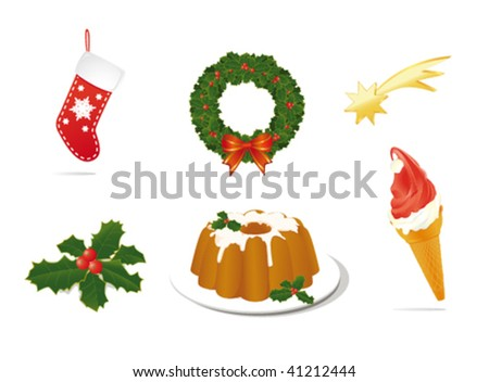 Christmas objects - stock vector