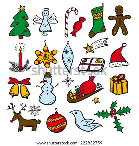 Christmas objects decorative set colored
