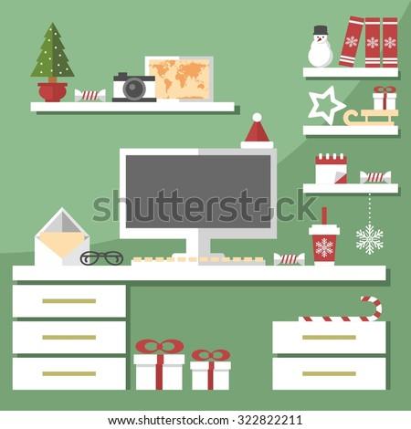 Christmas office interior - stock vector