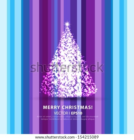 Christmas on a light blue background with Christmas tree. Vector EPS 10 illustration.
