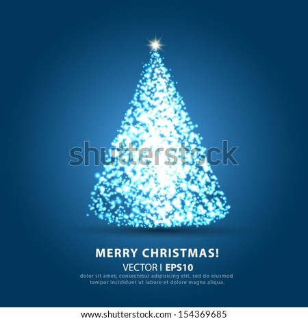 Christmas on a light blue background with Christmas tree. Vector EPS 10 illustration. - stock vector
