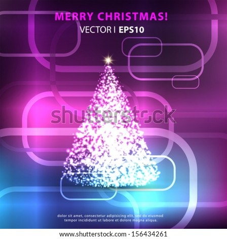 Christmas on a light blue purple background with Christmas tree.  Vector EPS 10 illustration. - stock vector