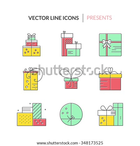 Christmas or birthday present icons made in modern line style vector. Holiday presents set. Gift boxes. - stock vector