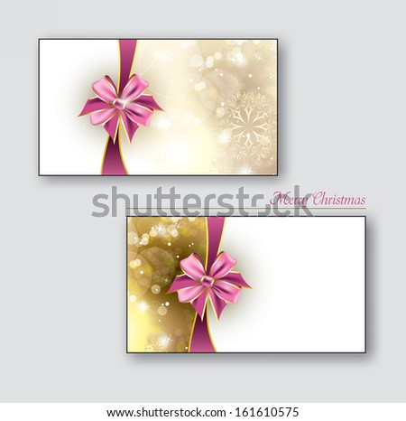 Christmas or Gift cards with pink bows. Eps10. - stock vector