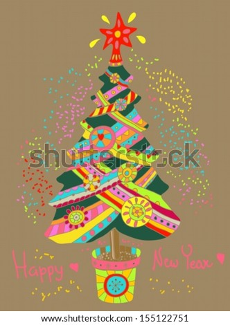 Christmas or New Year background with colorfull fir tree for Holiday design, Vector - stock vector