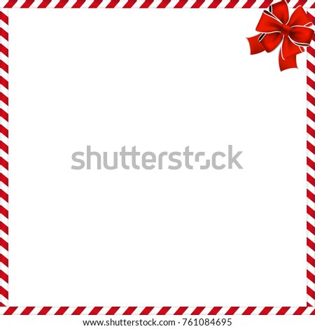 Christmas or new year frame with red and white lollipop pattern and red festive bow in the corner. Festive border. Vector illustration. template with space for text.