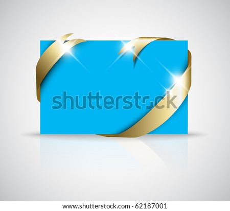 Christmas or wedding card - Golden ribbon around blank blue paper, where you should write your text - stock vector