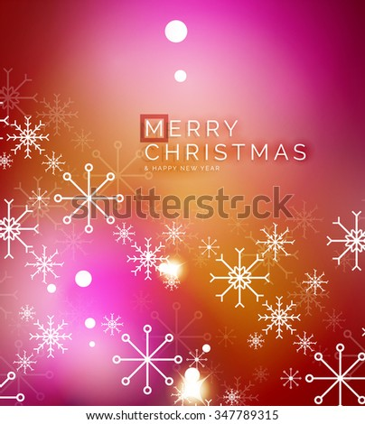 Christmas orange color abstract background with white transparent snowflakes. Holiday winter template, New Year layout - stock vector