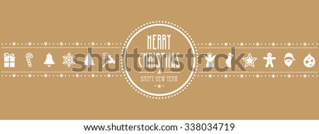 christmas ornament banner gold background - stock vector