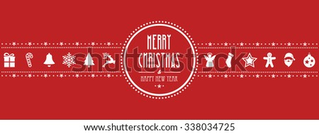 christmas ornament banner red background - stock vector