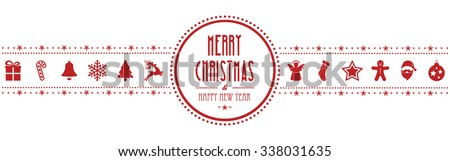 christmas ornament banner red isolated background - stock vector