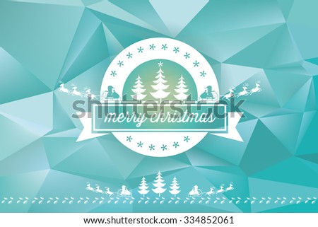 christmas ornament on abstract blue polygonal landscape background - stock vector
