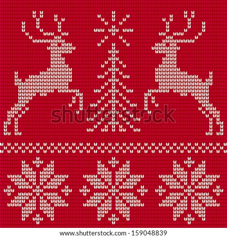 Christmas ornament. Sweater with deers. Seamless pattern  - stock vector