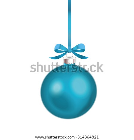 Christmas ornament with blue ribbon. Vector Illustration. - stock vector