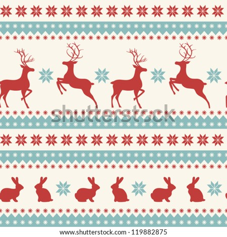 Christmas ornament with deer and rabbits - stock vector