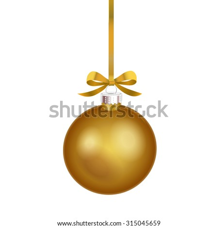 Christmas ornament with gold ribbon. Vector Illustration. - stock vector