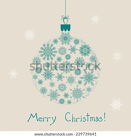 Christmas ornament with snowflakes - stock vector