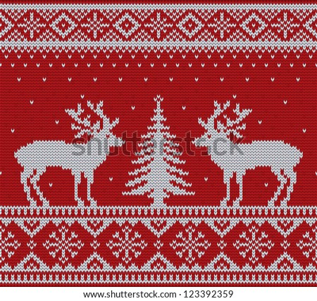 Christmas ornamental embroidery (knitting) with deers and firtree vector background - stock vector
