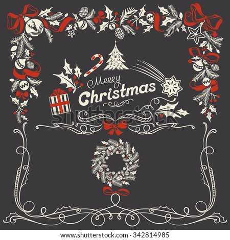 Christmas Ornamental Frame and a Festive Header in Freehand Chalk-drawing Style with Red Ribbons and Bow - stock vector
