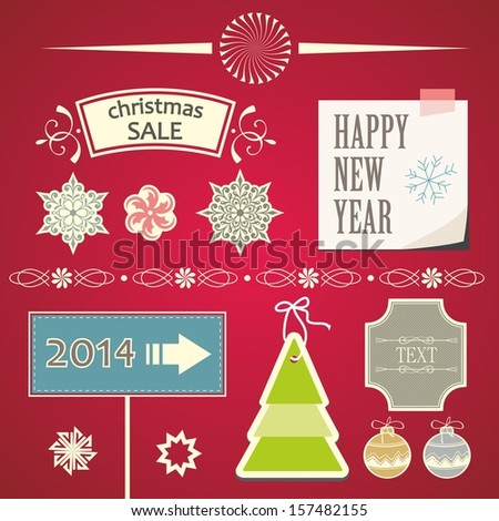 Christmas Ornaments and Decorative Elements. Christmas decorations and labels. - stock vector